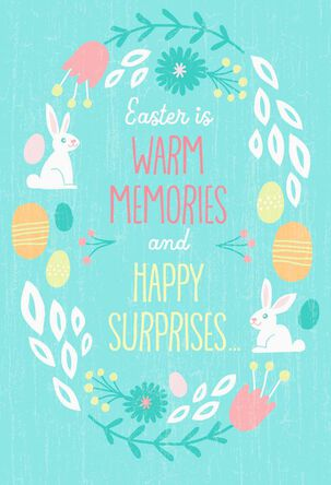 Bunny Wreath Easter Cards, Pack of 6