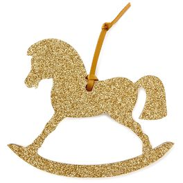 Gold Glitter Rocking Horse Gift Trim With Ribbon, , large
