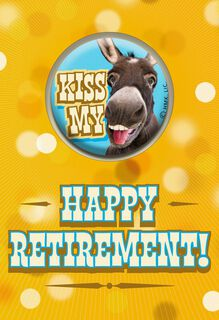 Kiss My Donkey Funny Retirement Card With Wearable Button,
