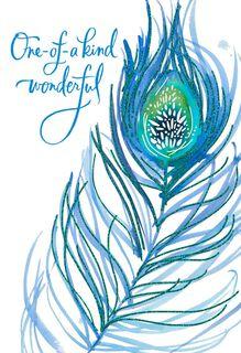 Peacock Feather Birthday Card,
