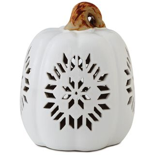 "Large Pierced Ceramic Pumpkin Luminary, 7.5"","