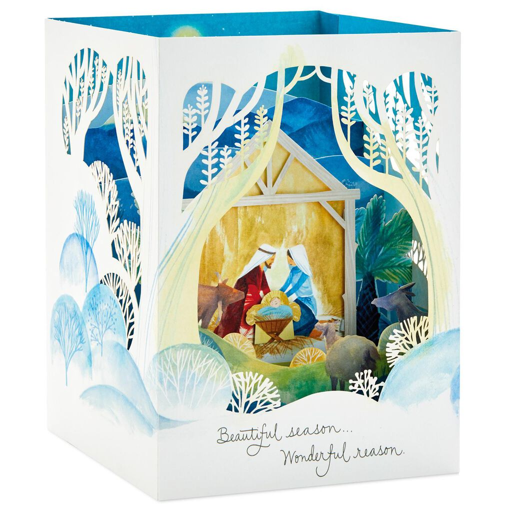 Nativity Scene Pop Up Shadow Box Christmas Card - Greeting Cards ...
