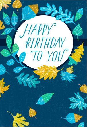 Blue and Green Leaves Birthday Card