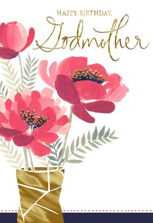 Vase Of Pink Flowers Birthday Card For Godmother