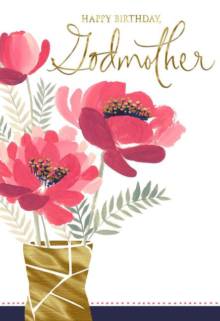 Vase Of Pink Flowers Birthday Card For Godmother Greeting Cards