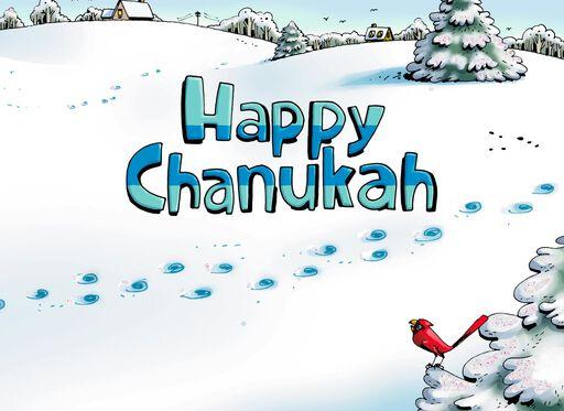 Snow Angels Funny Hanukkah Card,