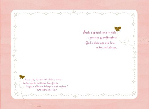 Pink Cross Baptism Card for Granddaughter,