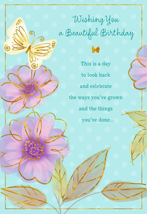 Butterfly on Purple Flower Birthday Card
