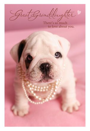 Puppy in Pearls Great-Granddaughter Valentine's Day Card