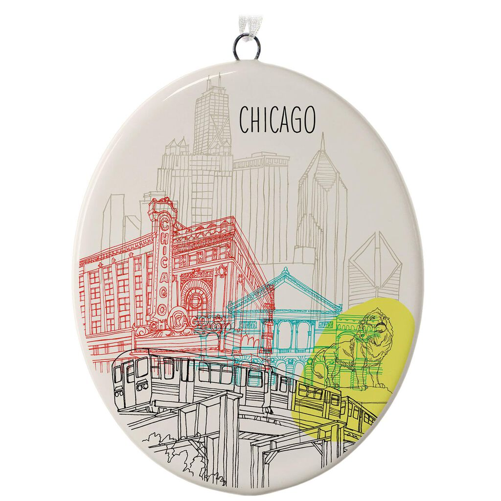 chicago ceramic ornament keepsake ornaments hallmark - Chicago Christmas Ornament