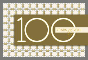 Gold and Silver 100th Birthday Card