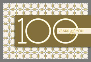 Gold and Silver 100th Birthday Card,