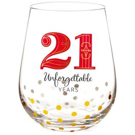 21 Unforgettable Years Stemless Wine Glass, , large