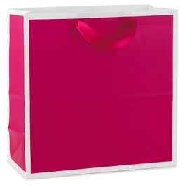 "Raspberry Large Square Gift Bag, 10.5"", , large"