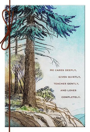 Illustrated Evergreen Tree Birthday Card for Dad