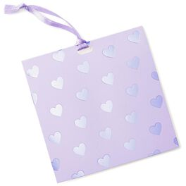 Lavender Foil Hearts Gift Tag With Ribbon, , large