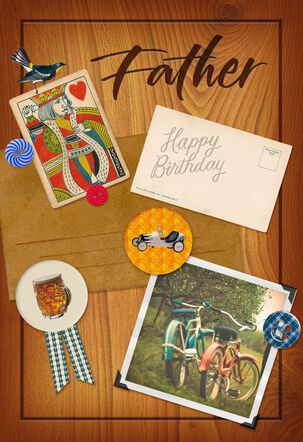 Photos and Buttons on Wood Birthday Card for Dad