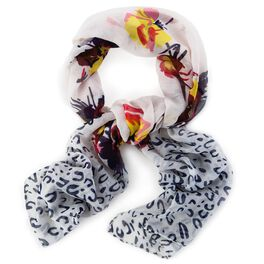 White with Floral and Leopard Designs Scarf, , large