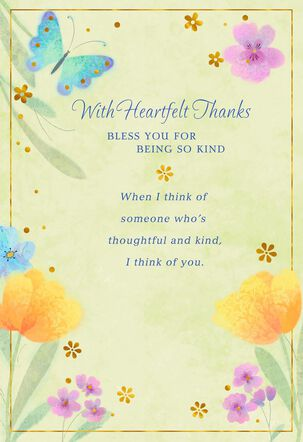 Butterfly and Flowers Kindness Won't Be Forgotten Thank You Card