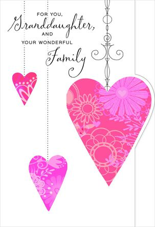Hearts for Granddaughter and Family Valentine's Day Card