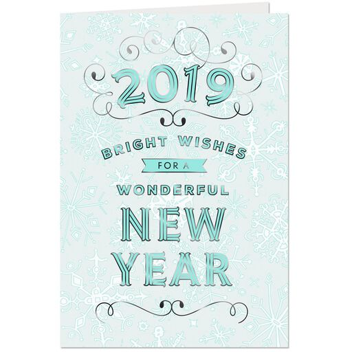 bright wishes in 2019 new year card