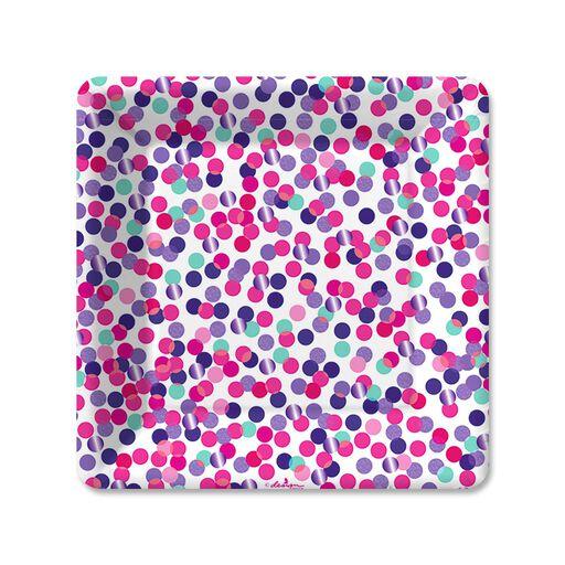 Pink Confetti Toss Dessert Plates Pack Of 6