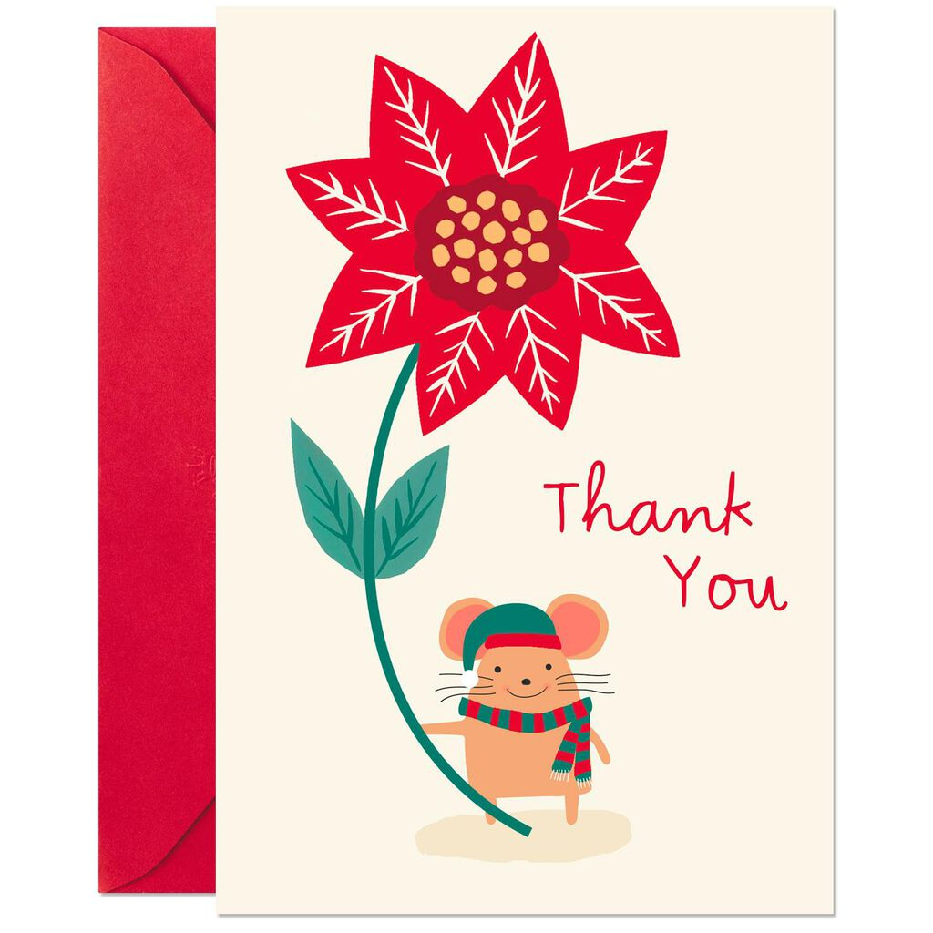Mouse And Poinsettia Christmas Thank You Cards Pack Of 6 Boxed
