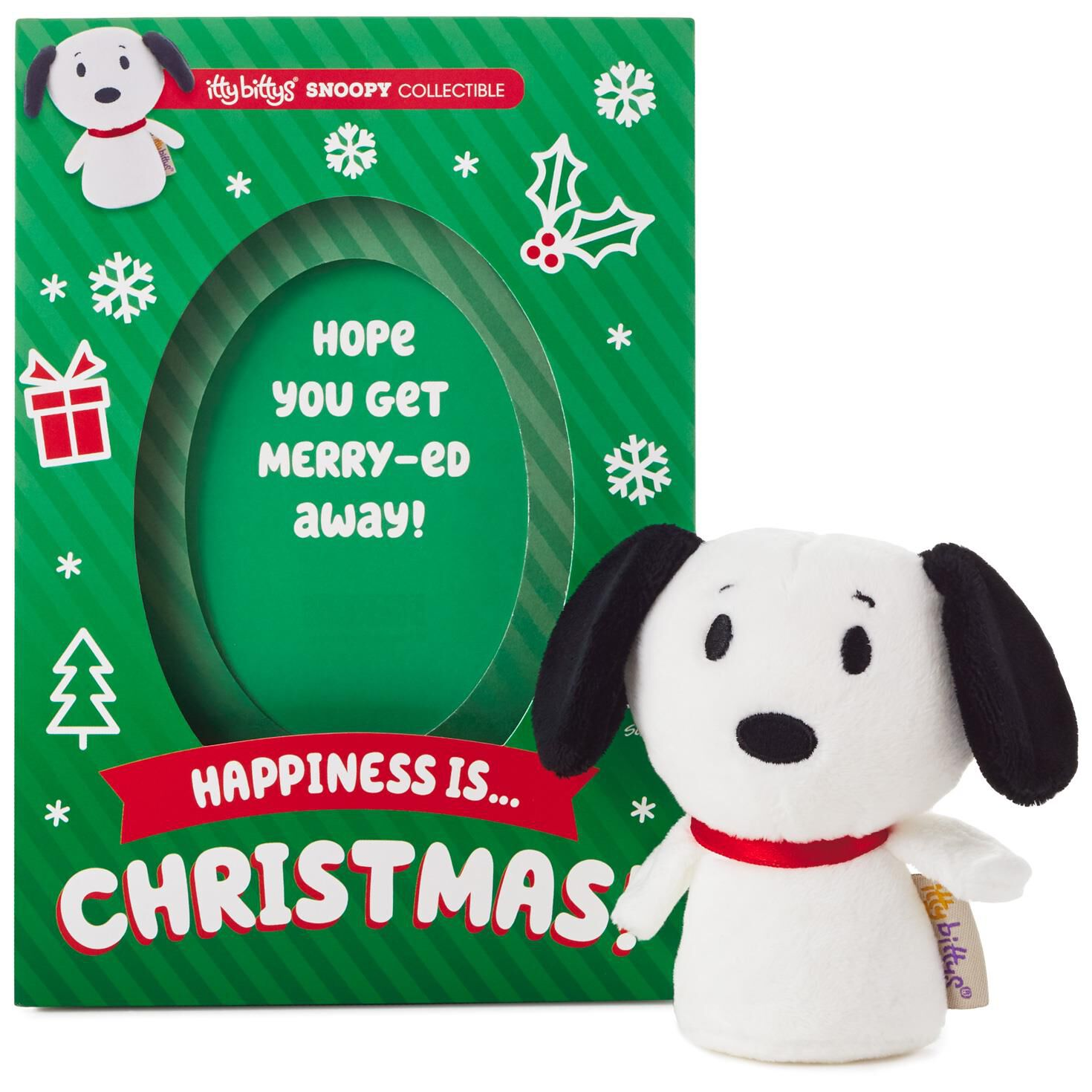 Snoopys Christmas.Itty Bittys Peanuts Snoopy Christmas Card With Stuffed Animal