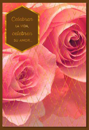 Pink Roses Spanish Anniversary Card