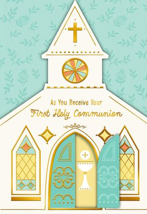 Church With Steeple First Communion Card