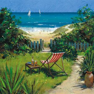 Lounge Chair, Beach and Sailboat Painting Blank Just Because Card