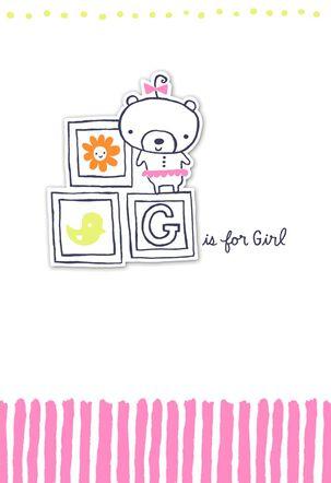 Toy Blocks New Baby Girl Card