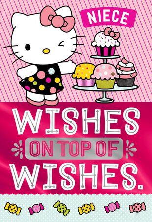 Hello KittyR Cupcakes Birthday Card For Niece