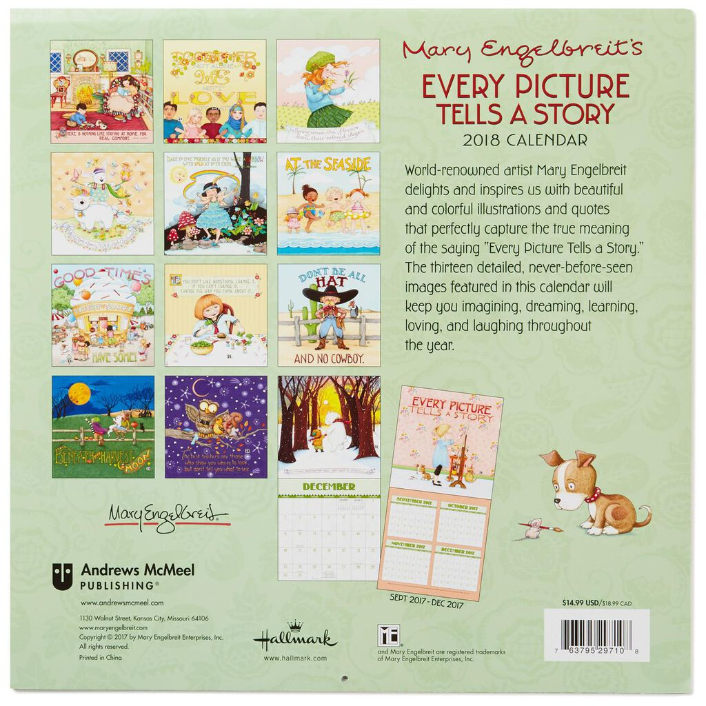 mary engelbreit every picture 2018 wall calendar 12 month