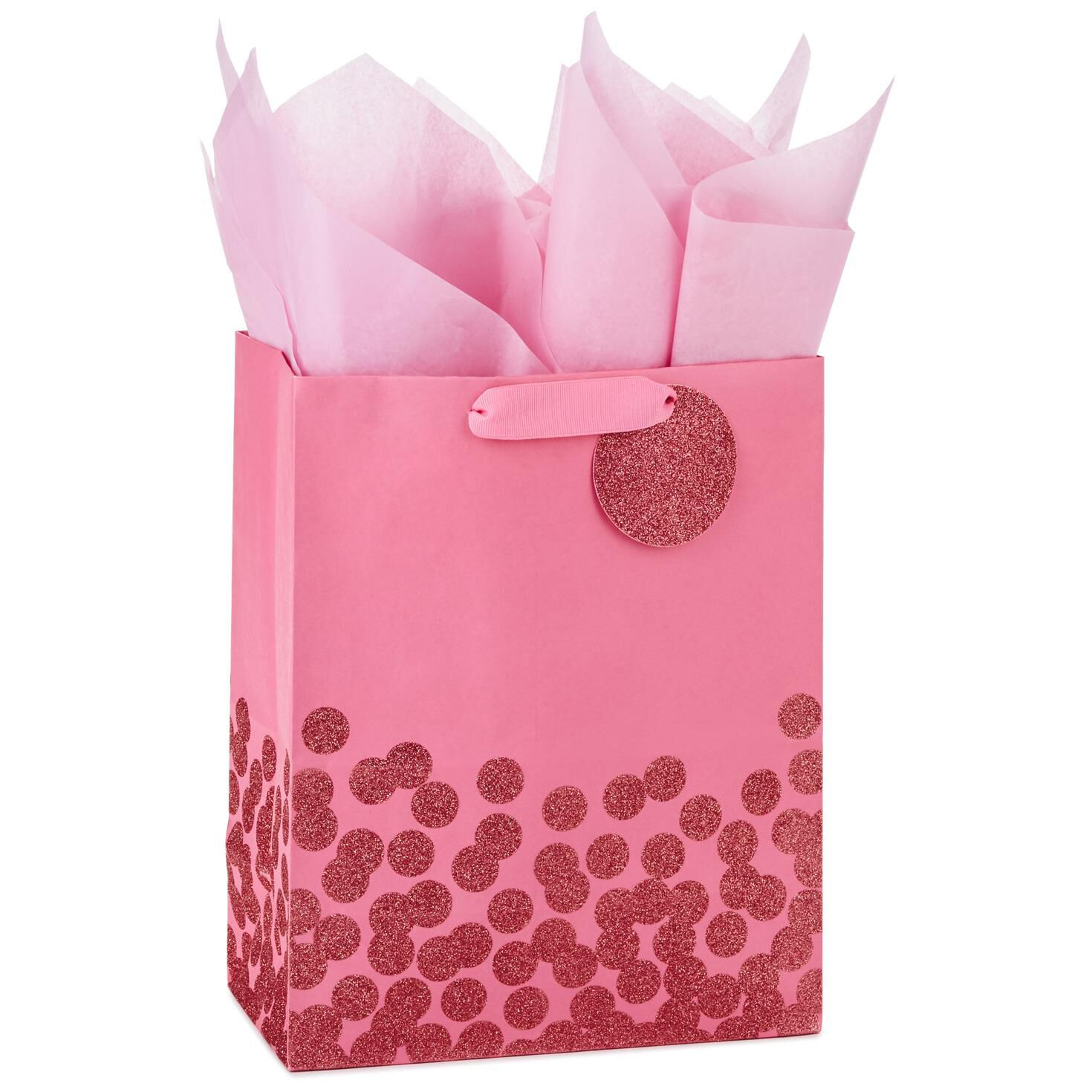 Pink Glitter Dots Large Gift Bag With Tag and Tissue, 13\