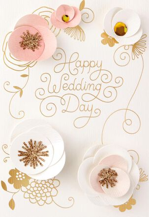 Pastel Flowers Happy Day Wedding Card