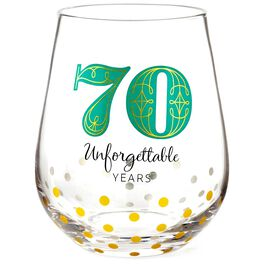 70 Unforgettable Years Stemless Wine Glass, , large