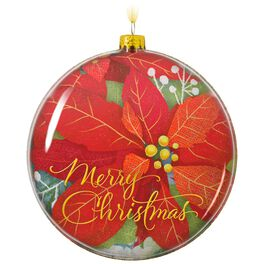 Merry Christmas Glass Poinsettia Ornament, , large