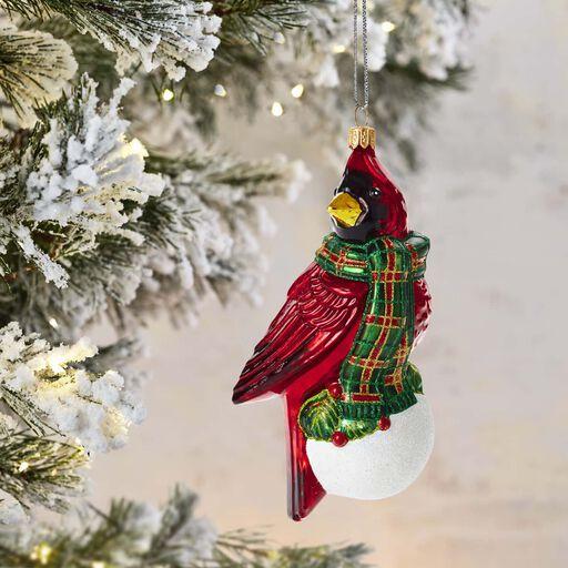 ... Regal Red Bird Blown Glass Ornament,