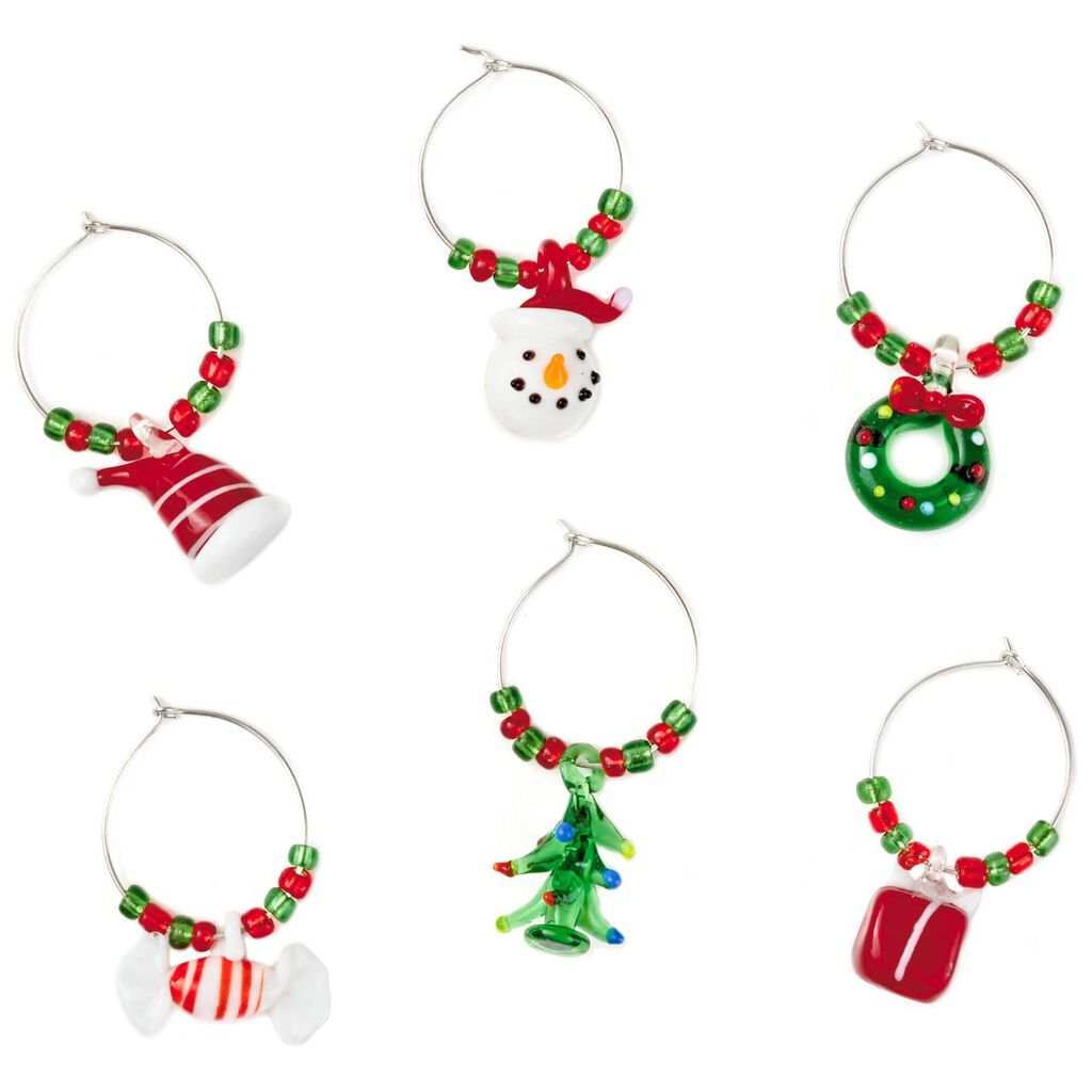 festive holiday wine charms set of 6 kitchen accessories hallmark - Christmas Wine Charms