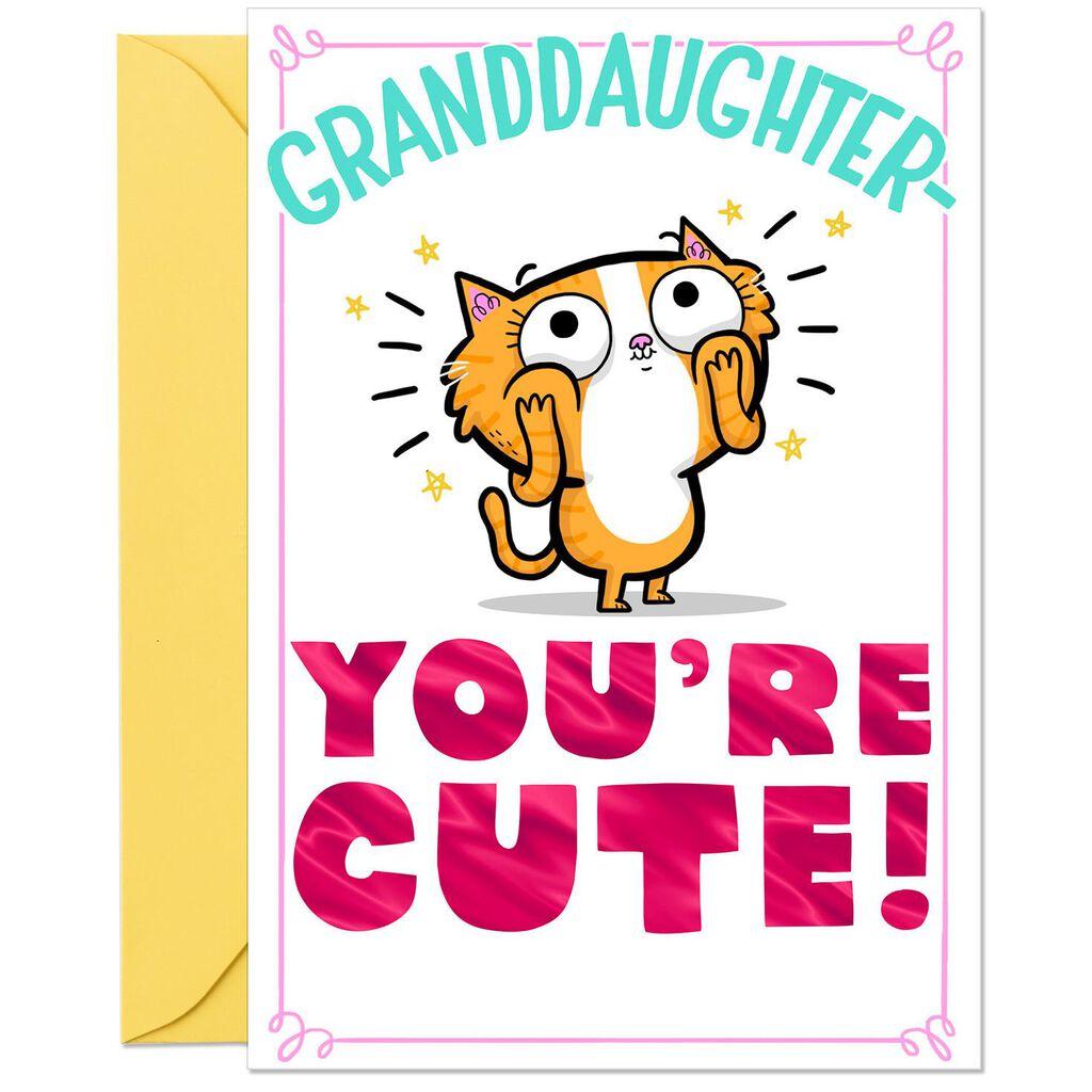 Cute Cartoon Cat Funny Birthday Card For Granddaughter