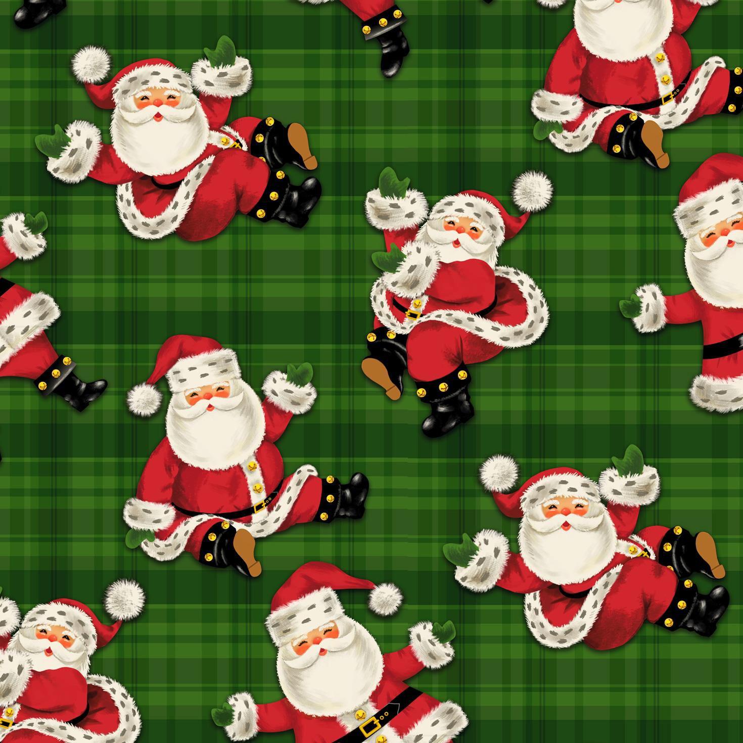 Nostalgic Santas on Plaid Jumbo Christmas Wrapping Paper Roll, 100 ...