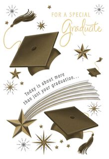 Shooting Stars, Flying Caps Graduation Card,