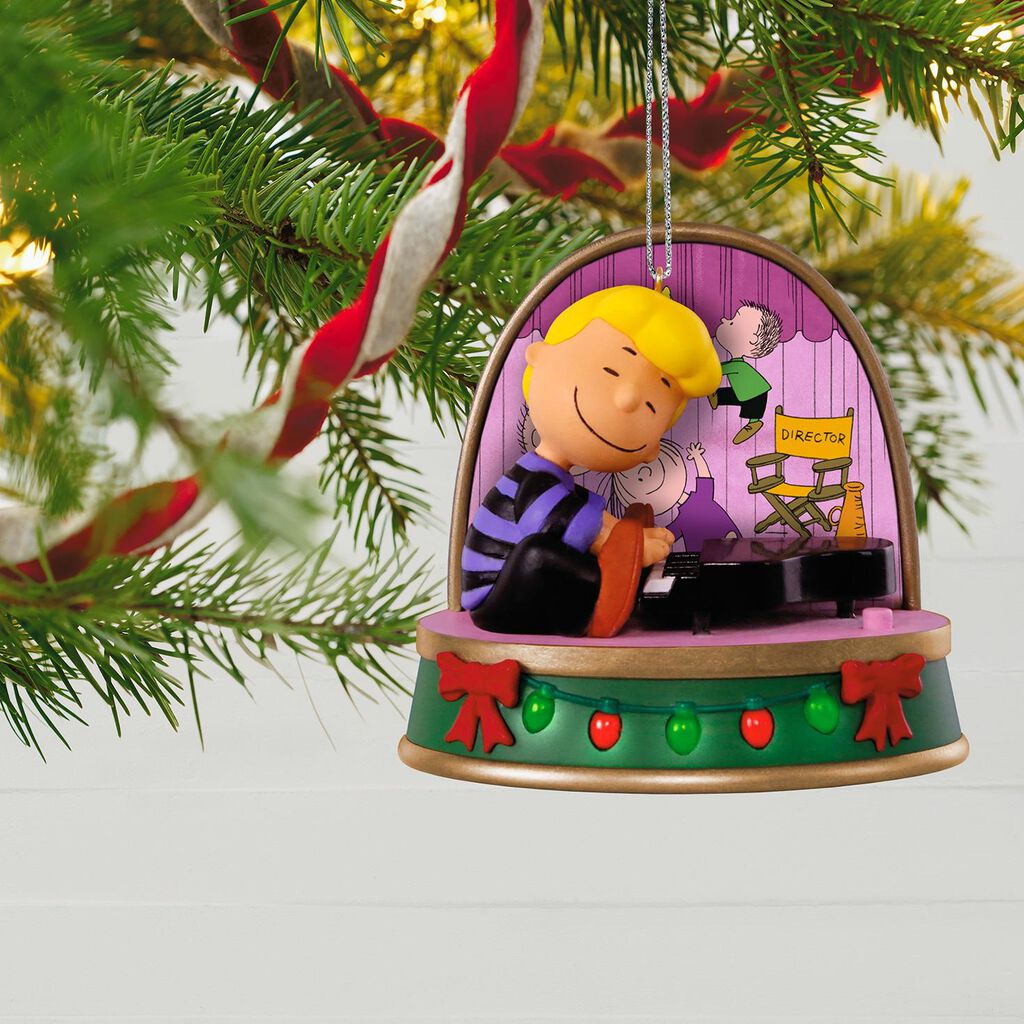 a charlie brown christmas schroeder ornament with sound and light