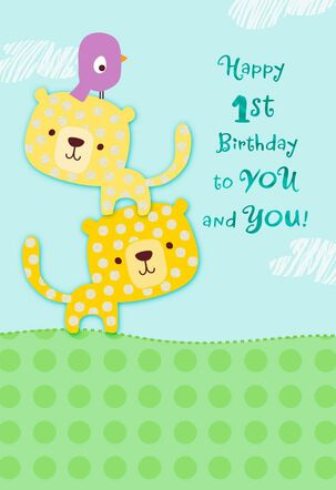 Lion Cubs 1st Birthday Card for Twins