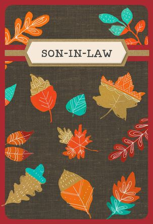Autum Leaves Thanksgiving Card with Customizable Male Relative Stickers