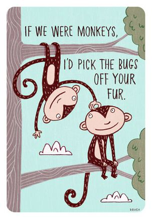 Monkeys and Bugs Funny Love Card