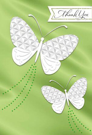 White Butterflies Thank You Card