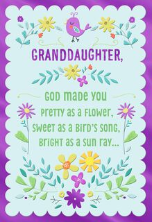 Pretty As a Flower Religious Easter Card for Granddaughter,
