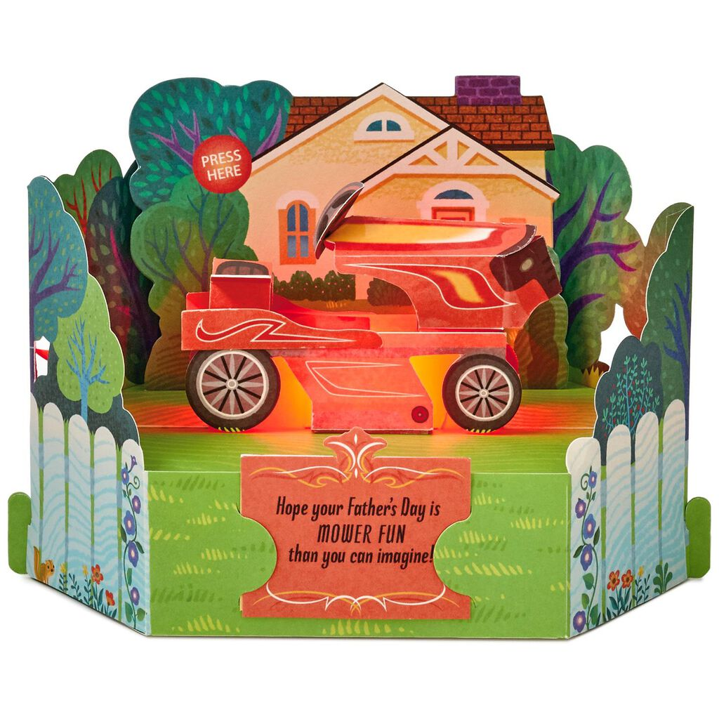 Lawn Mower Fun Pop Up Musical Fathers Day Card With Light